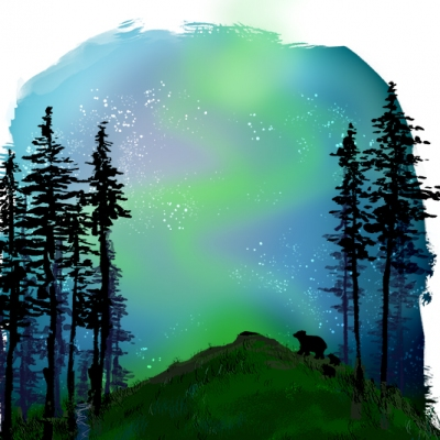 Spot Illustration: Bears and Northern Lights